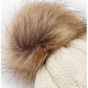Accessories - SALE Pom Pom Beanie Chevron Knit White Cap Hat